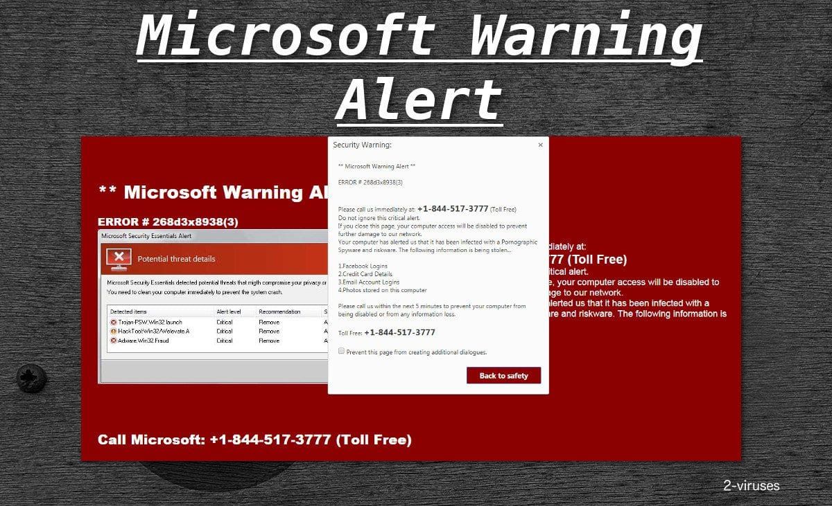 Virus alert from Microsoft pop ups